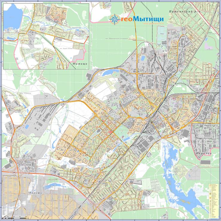 Пример печатного варианта карты города Мытищи и Мытищинского района.